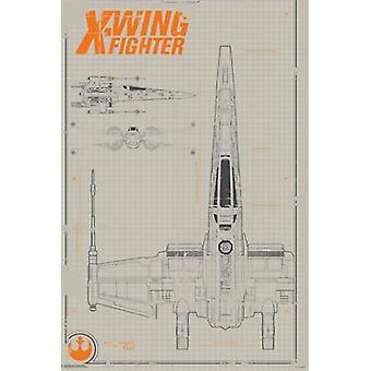 Sammler - Star Wars The Force erwacht - X-Wing-Plakat Poster Druck