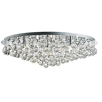 Hanna Chrome 8 Light Round Semi Flush Ceiling Fixture With Crystal Balls - Searchlight 9598-8cc