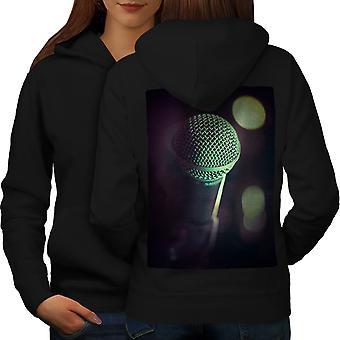 Micrófono la canción música arte mujeres BlackHoodie espalda | Wellcoda