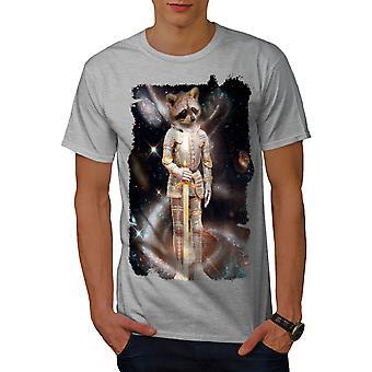 Racoon Hero Space Animal Men GreyT-shirt | Wellcoda