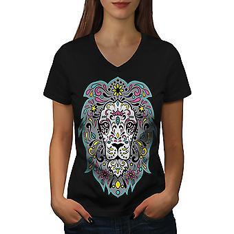 Kong jungelen Lion kvinner BlackV-hals t-skjorte   Wellcoda