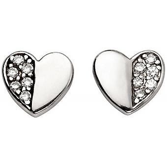 Beginnings Cubic Zirconia Half Pave Heart Stud Earrings - Silver/Clear
