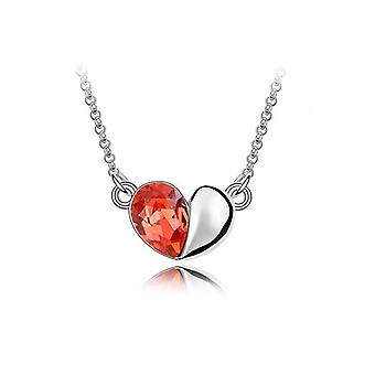 Fire Orange Designer Love Heart Crystal Silver Jewellery Necklace