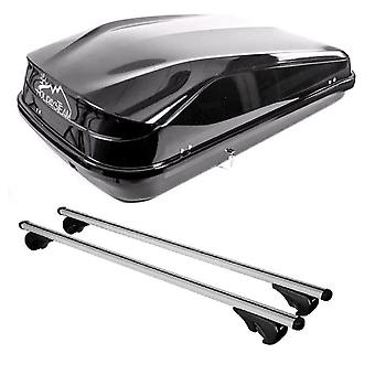 Roof Bars & 420L Large, Black Box For Audi A6 Allroad 2006-2011