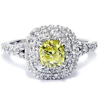 1 1/2 ct coussin canaris diamant Halo Double Engagement Ring 14K or blanc
