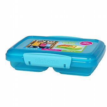 Sistema-Mittagessen-rechteckige Split-Container blau 350Ml 18015180