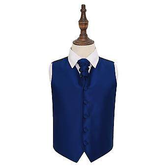 Royal Blue Solid Check Wedding Waistcoat & Cravat Set for Boys