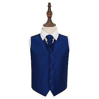 Niebieski Royal stałe wyboru ślubna kamizelka idealna Cravat zestaw dla chłopców