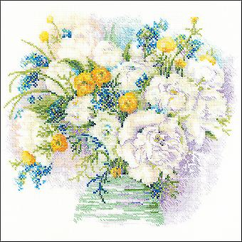 Watercolor Peonies Counted Cross Stitch Kit-11.75