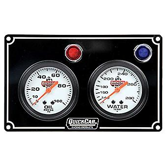 Quickcar Racing Products 61-6701 2 Gauge Panel OP/Wtblack