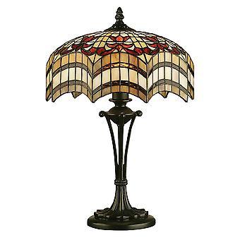 Interiors 1900 Vesta 2 Light Tiffany Medium Table Lamp With Anti