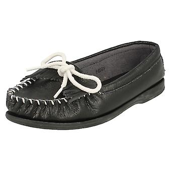 Ladies Down To Earth Flat Fringe Trim Moccasin