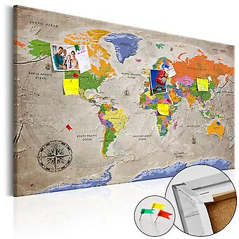 Picture on cork - World Map: Retro Style [Cork Map]