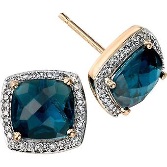 Elements Gold Kaleidoscope 9ct Gold Topaz and Diamond Checkerboard Stud Earrings - London Blue/Gold