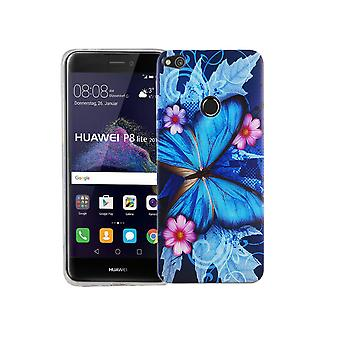 Mobile Shell for Huawei P8 Lite 2017 cover case protective bag motif slim silicone TPU blue butterfly