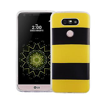 Mobile case for LG G5 cover case protective bag motif slim TPU + armor protection glass 9 H yellow / black