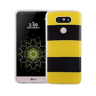 Handy Hülle für LG G5 Cover Case Schutz Tasche Motiv Slim TPU + Panzer Schutz Glas 9H Gelb / Schwarz