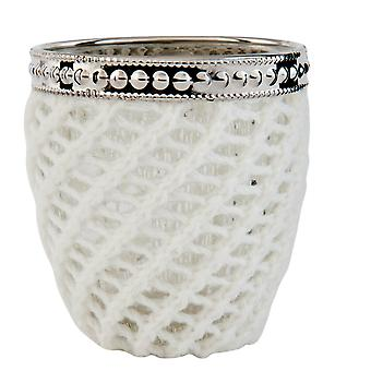 Clayre & EEF of romantic tea light holder glass and wool country house Ø 7x9cm