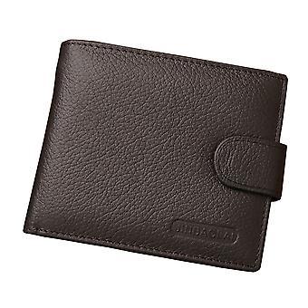 Leather Wallet Men's Brown Button Money Cash Purse ID