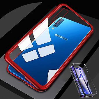 Samsung Galaxy A7 A750F 2018 Magnet / metal / szkło sprawa zderzak przezroczysty-czerwona pokrywa obudowy nowych
