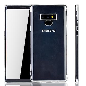 Handyhülle für Samsung Galaxy Note 9 Silber - Clear - TPU Silikon Case Backcover Schutzhülle in Transparent / glänzender Rand Silber