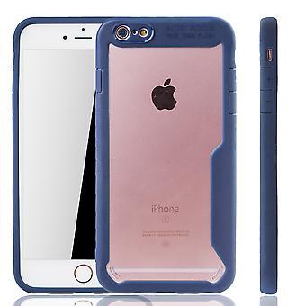 Azul premium Apple iPhone 6 cubierta de la edición de híbrido iPhone 6s. Compatible con inalámbrico de carga | acrílico fino con el azul del anillo de silicona blanda