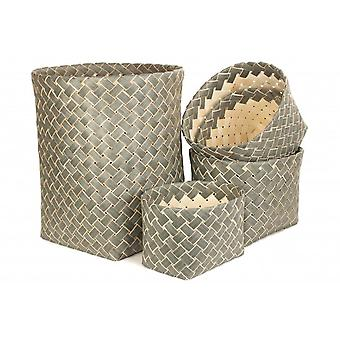 Set of 5 Grey Poplar Storage Basket