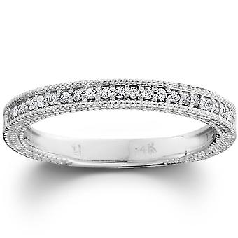 Diamond Wedding Ring 1/5ctw Womens Stackable Diamond Band 10k White Gold