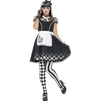 Gothic Alice Costume, Black, with Dress, Apron & Headband