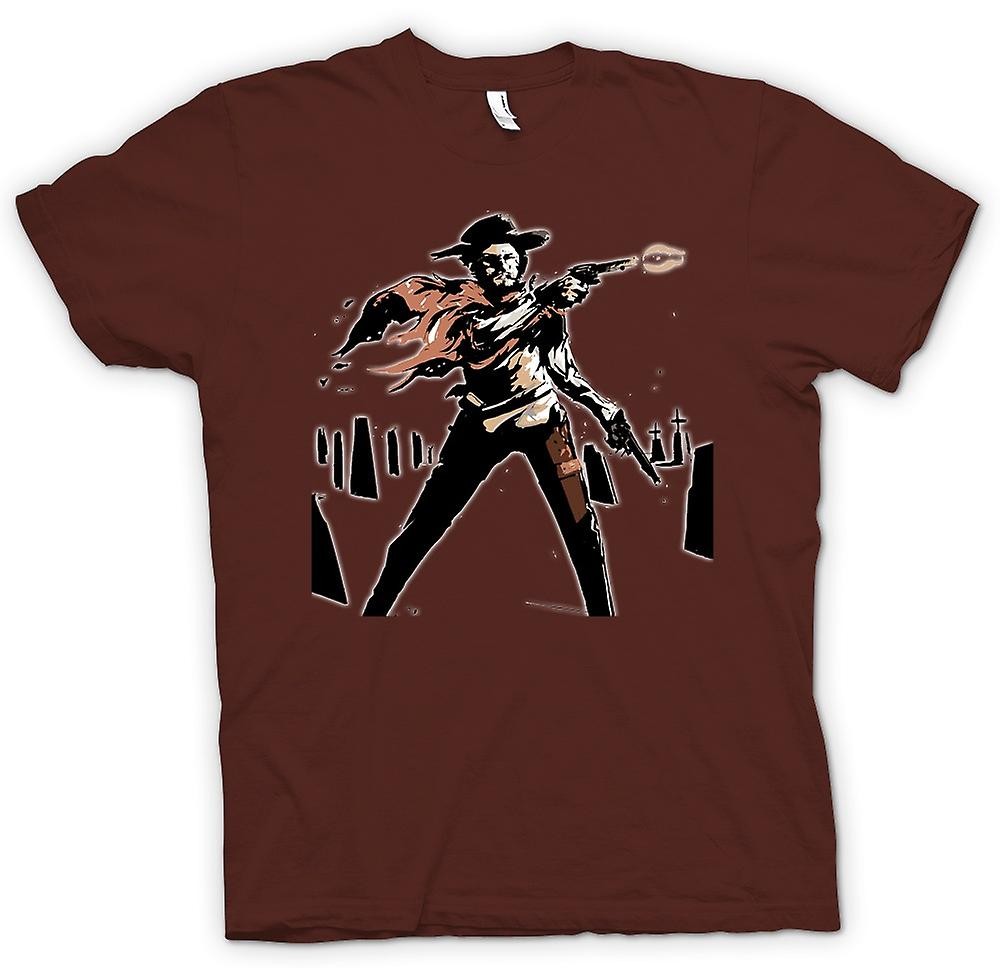 Herr T-shirt-Spaghetti-Western - Cowboy - skiss