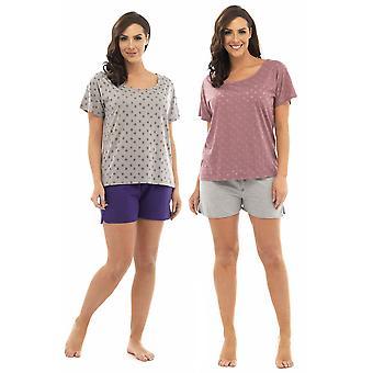 2 paquete a damas Tom Franks Burnout estrella camiseta Top y Shorts pijama Lounge Wear