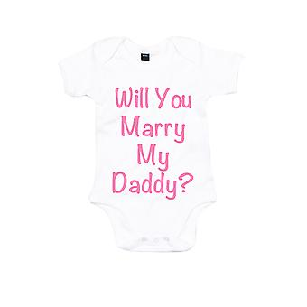 Will You Marry My Daddy White with Pink Baby Grow