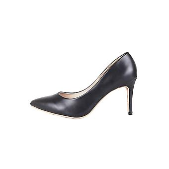 LMS Black Faux Leather Court Shoe With Mid Heel
