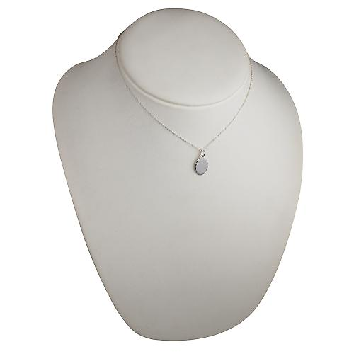 Silver 16x11mm diamond cut edge Disc with a rolo Chain 16 inches Only Suitable for Children