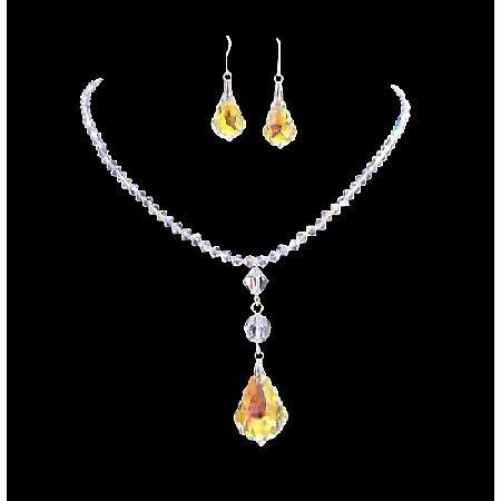 AB Swarovski Crystal AB Baroque Pendant Irridescent Drop Down Necklace