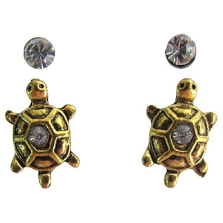 Vintage Lucky Little Turtle Stud Earrings Antique Gold Turtle Earrings