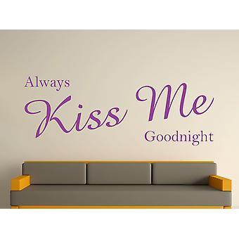 Always Kiss Me Goodnight Wall Art Sticker - Purple