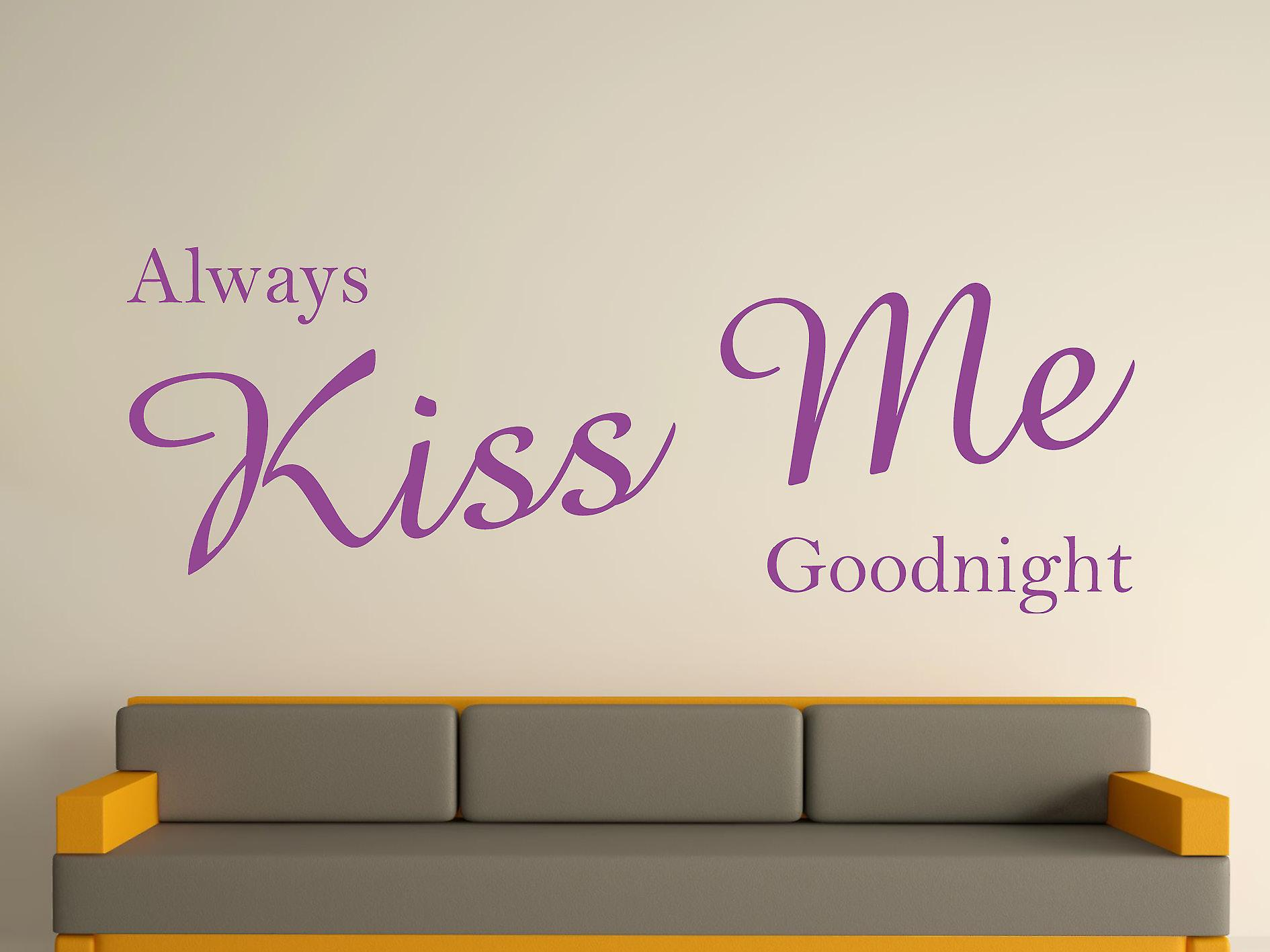 Always Kiss Me Goodnight Wall Art Sticker - Purple