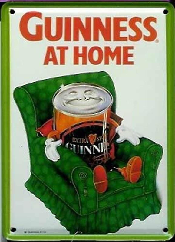 Guinness At Home (Can on Armchair) metal postcard/ mini sign    (hi)