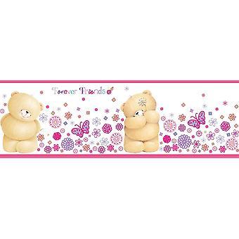 Por siempre amigos Wallpaper frontera fun4walls adhesivo 5m flor peluche rosa