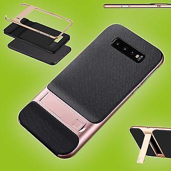 Für Samsung Galaxy S10 Plus G975F 6.4 Zoll Standing Hybrid Case 2teilig Outdoor Rosa Tasche Hülle Cover Schutz
