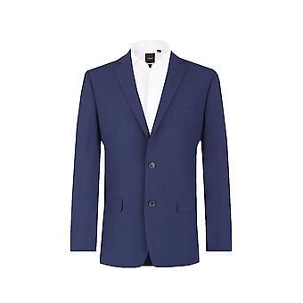 Paletó azul Oxford Dobell Mens adaptados ajuste Notch Lapel