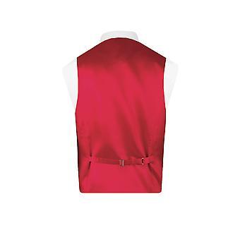 Dobell Mens rode vest normale Fit 5 knop Jacquard patroon gilet