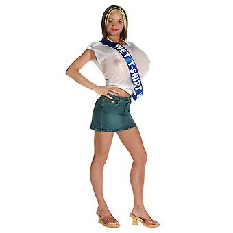 Womens Wet T-Shirt Rude & Naughty Fancy Dress Costume