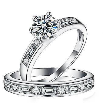 """925 Sterling Silver """"round & Baguette"""" Engagement Band Ring Set"""