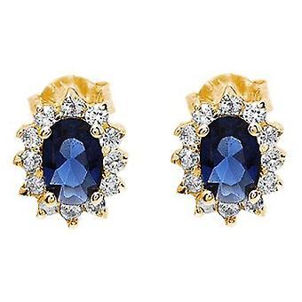 Ah! Bijoux saphir véritable cristaux de Swarovski ovale Stud Earrings