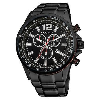 Akirbos XXIV AK619BK Men's Black Swiss Quartz Chronograph Tachymeter Stainless Steel Bracelet Watch