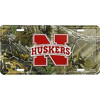 Nebraska Cornhuskers NCAA Camo License Plate