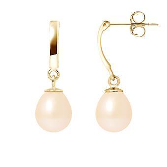 Boucles d'Oreilles Pendantes Perles de Culture Roses et or jaune 375/1000