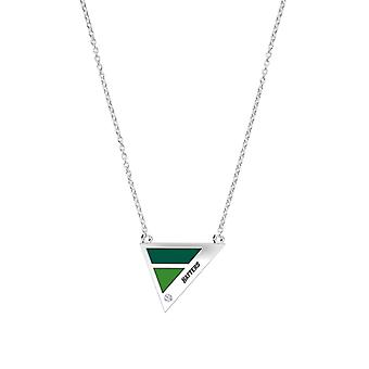 Stetson University Hatters Engraved Diamond Geometric Necklace In Dark Green And Green